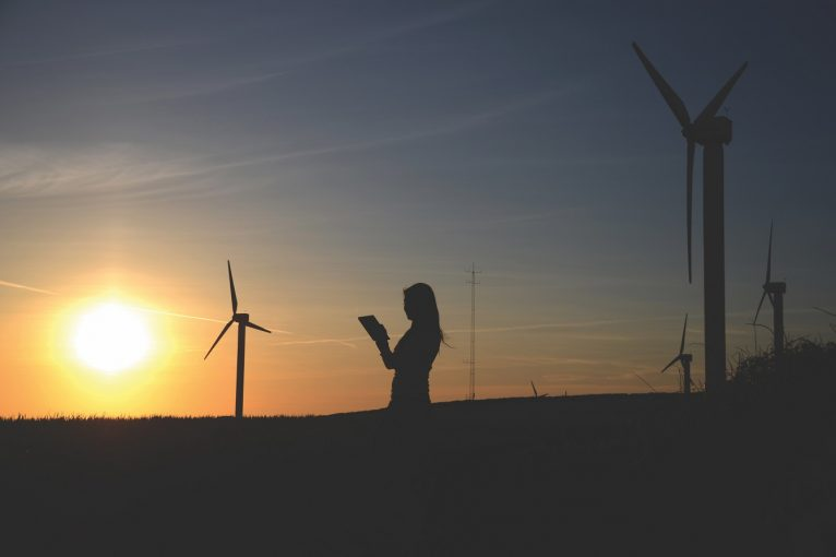 silhouette-of-woman-holding-book-near-windmills-636335