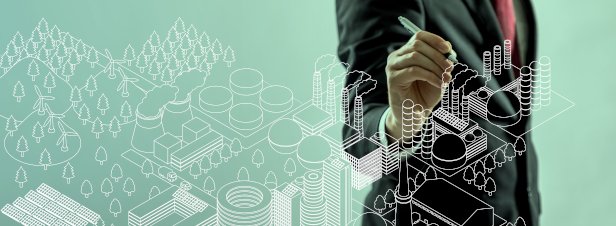 business person drawing cityscape illustration